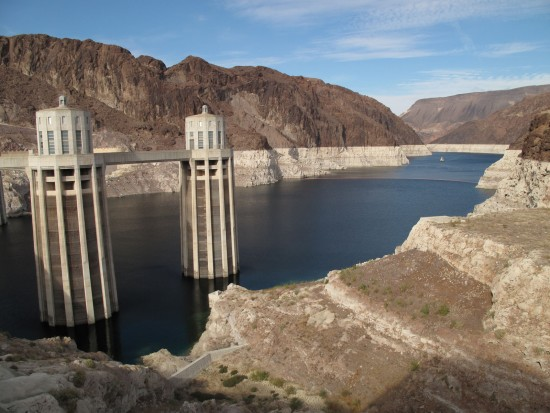 "Lake Mead's ""bathtub ring"" is caused by water levels that have dropped 145 feet below their peak of 1,225 in 1983. Water rationing is triggered at 1,075 feet."