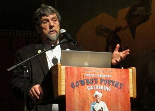 Gary Nabhan delivers the 2015 National Cowboy Poetry Gathering keynote address Thursday morning in the Elko Convention Center auditorium. Photo by: Jeffry Mullins